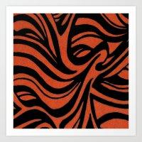 Orange & Black Waves Art Print
