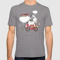 Runs Away Mens Fitted Tee Tri-Grey SMALL