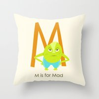 M Is For Mad Throw Pillow