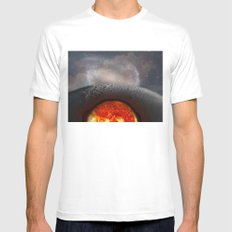 Moon White SMALL Mens Fitted Tee
