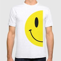 Half Smile (Right) Mens Fitted Tee Ash Grey SMALL