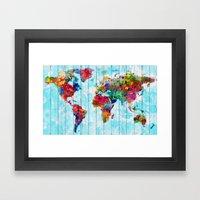 Woodside World Map Framed Art Print