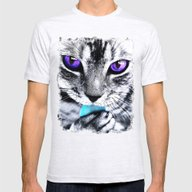 Purple Eyes Cat Mens Fitted Tee Ash Grey SMALL