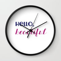 hello, beautiful  Wall Clock