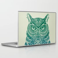 city Laptop & iPad Skins featuring Warrior Owl by Rachel Caldwell