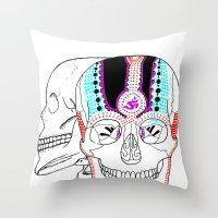 Rainbow Skulls Throw Pillow