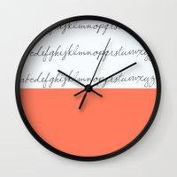 Alphabet-Coral  Wall Clock