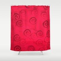 Festive Red Spirals Shower Curtain