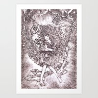 Girl and her cat Art Print
