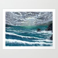 Sunbeam Seascape Art Print