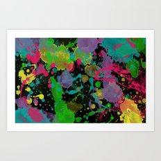 Paint Splatter on Black Background Art Print