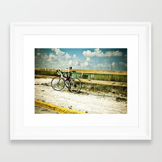 Bicycle on Beach Framed Art Print