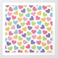 Art Print featuring LOVE HEARTS by Daisy Beatrice