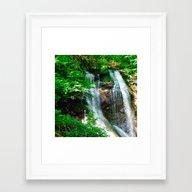 Green Foliage & Waterfal… Framed Art Print