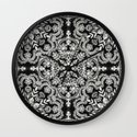Black & White Folk Art Pattern Wall Clock