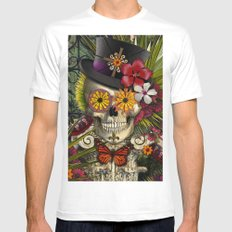 Baron in Bloom - Botanical Skull Baron Samedi Voodoo Deity Mens Fitted Tee White SMALL