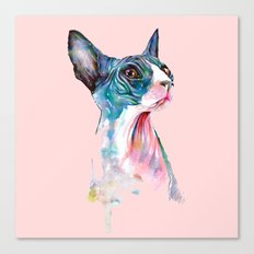 cat on pink Canvas Print
