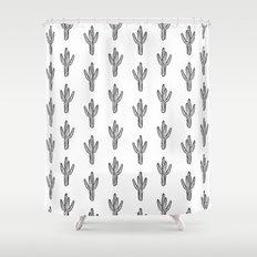 Cactus minimal modern black and white art decor painting trendy hipster southwest desert gifts  Shower Curtain