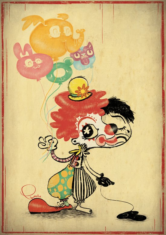 The Clown / Balloons Art Print
