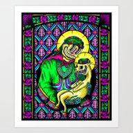 Art Print featuring The Holy Alpaca by SantaGross