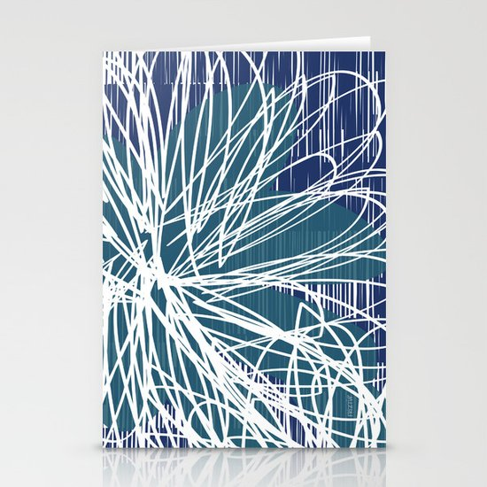 Blue Doodle Floral by Friztin Stationery Card
