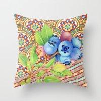 Nouveau Rococo Blueberries Throw Pillow