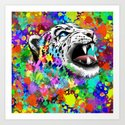 Leopard Psychedelic Paint Splats Art Print
