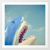 shark Art Prints featuring Shark! by Cassia Beck