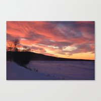 Wintry Sunset Over The P… Canvas Print