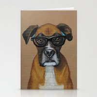 Hipster Boxer Dog Stationery Cards
