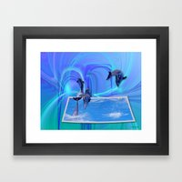 Leaping Dolphins Framed Art Print