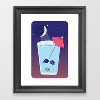Waxing Waterglass Moon  Framed Art Print