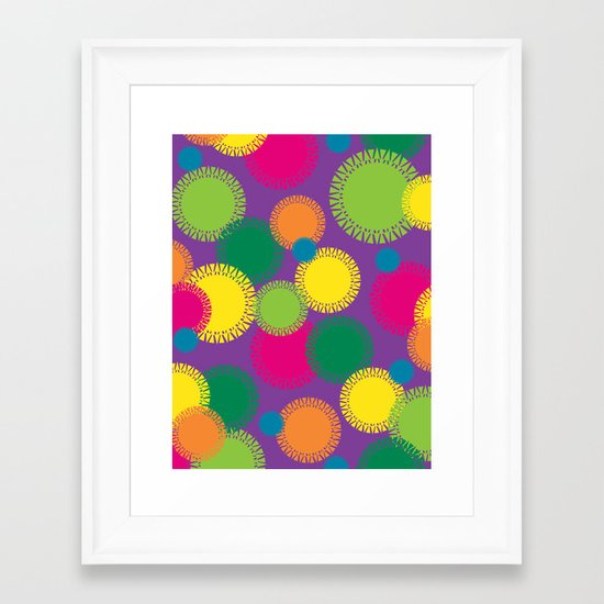 Spikey Circles Purple Framed Art Print