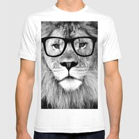 Hippest Lion with glasses - Black and white photograph Mens Fitted Tee White SMALL