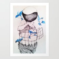 Human flight Art Print