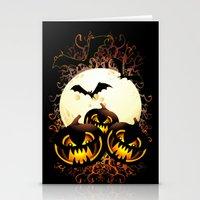 Black Pumpkins Halloween Night Stationery Cards