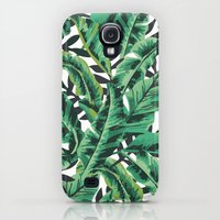 Galaxy S4 Cases featuring Tropical Glam Banana Leaf Print by Nikki