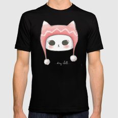Stay Chill Cat Mens Fitted Tee Black SMALL