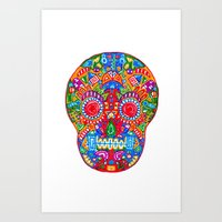 A Really Colourful Skull Art Print