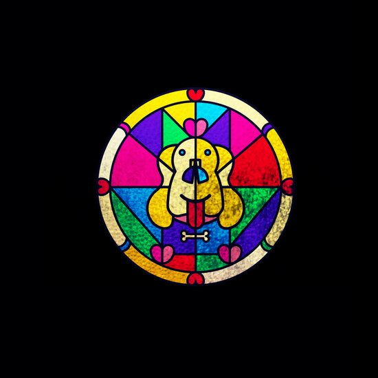 Stained Glass Dog Art Print