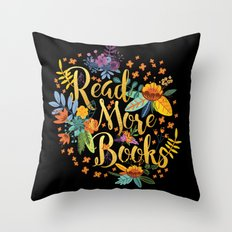 Read More Books - Black Floral Gold Throw Pillow