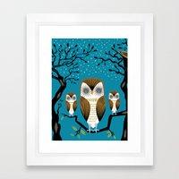 Three Lazy Owls Framed Art Print
