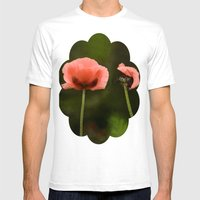 Couple Pink Oriental Poppies Mens Fitted Tee White SMALL