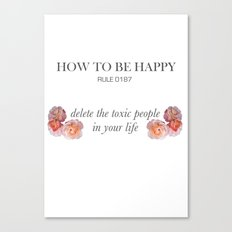 Rules of happiness Canvas Print