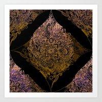 Detailed diamond, bordeaux glow Art Print