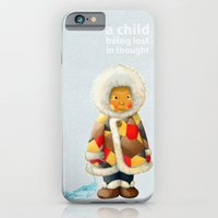 iPhone & iPod Case featuring a child being lost in thought by Hanae Miki