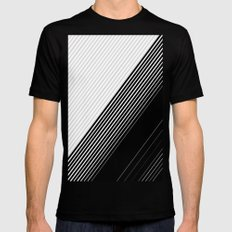 Modern Simple Black Stripes and White Color Block SMALL Mens Fitted Tee Black