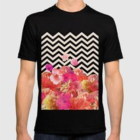 Chevron Flora II Mens Fitted Tee Black SMALL