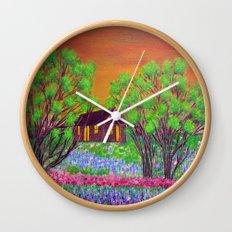 Meadow in the Sunrise Wall Clock