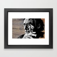 Hank on wood Framed Art Print